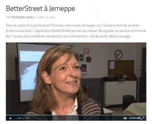 """""""Betterstreet à Jemeppe"""", un reportage de la télévision locale CanalC, qui m'a interviewé à l'occasion du lancement de l'application, et que vous pouvez voir et revoir via ce lien : http://www.canalc.be/betterstreet-a-jemeppe/ S. Thoron"""