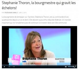 """""""Stéphanie Thoron, la bourgmestre qui gravit les échelons"""" : un reportage de CanalC que vous pouvez revoir via ce lien : http://www.canalc.be/stephanie-thoron-la-bourgmestre-qui-gravit-les-echelons/"""